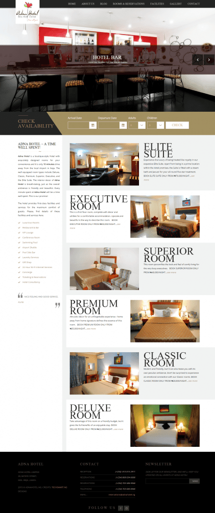 Adna Hotel's Website (New Look)